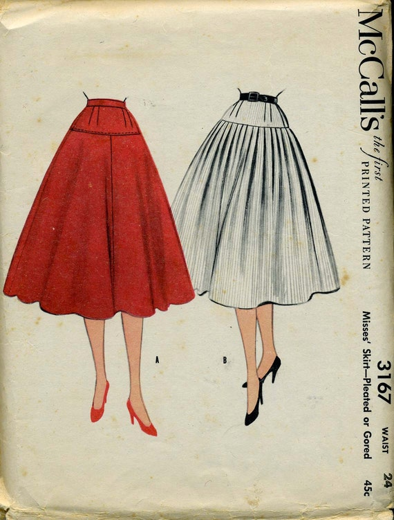 McCall's 3167: 1950s Pleated or Gored Skirt Pattern. Waist 24.