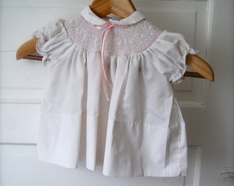 Sweet Vintage Baby Dress in White and Pink