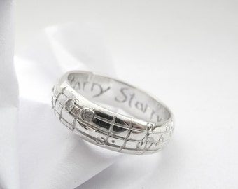 Your Song Diamond Wedding Ring - Real Notes to Any Song - One of a Kind Design - Sterling Silver - Personalized - Rickson Jewellery