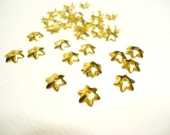 Tiny Gold Filigree Star Bead Caps, 6 Point Stars, 9mm- (50 pcs)