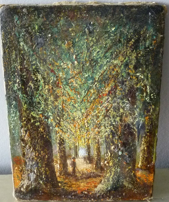Crusty 1900's French Landscape Painting, Original Art