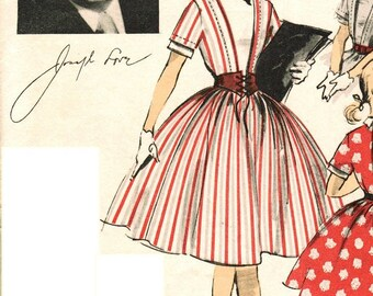 """Advance 6492 Vintage Uncut 50s """"J. Love"""" Designer Girls' DRESS with Full Skirt and Vestee Sewing Pattern Size 14 B32"""