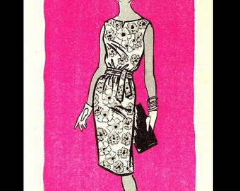 Marian Martin 9411 Vintage 60s UNCUT Mail Order Shift DRESS Sewing Pattern and Envelope Bust 34-35