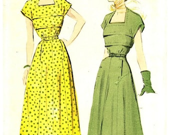 Advance 5188 Vintage 40s Elegant Cap Sleeve DRESS with Portrait Neckline Sewing Pattern Size 12