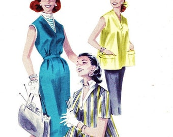 Butterick 7796 Vintage 50s Misses' Maternity Coordinates, Smock Top and Dress Sewing Pattern Size 12 Bust 30