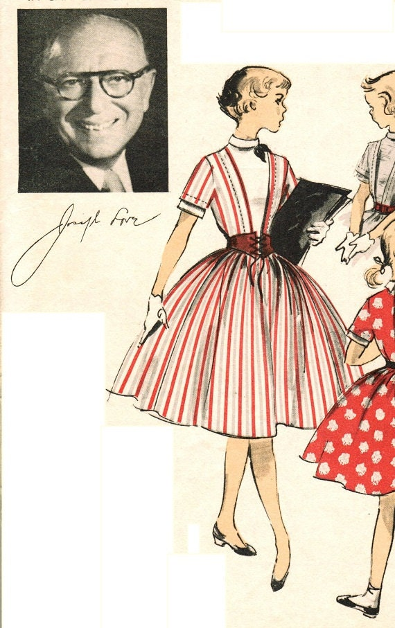 "Advance 6492 Vintage Uncut 50s ""J. Love"" Designer Girls' DRESS with Full Skirt and Vestee Sewing Pattern Size 14 B32"
