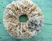 Neutral Coffee Filter Wreath with Handmade Paper Flowers