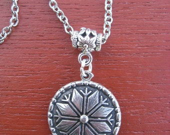 Pewter Button Necklace from Norway Selbu Rose