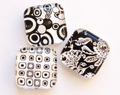 Magnets, Abstract Magnets, glass magnets, fridge magnets, pattern magnets, black and white, kitchen magnets (374)