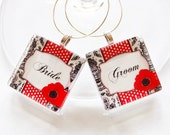 Bride & Groom Charms, Wine Charms, barware, Wedding Wine Charms, Bride Groom, Wedding Shower, Bridal Shower, table setting, Black White Red