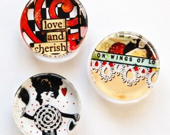 Magnets, glass magnets, fridge magnets, Funky Magnets, Gift for her, Abstract, stocking stuffer