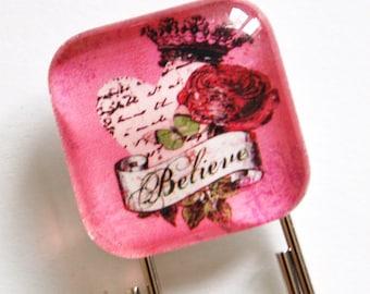 Believe Bookmark, Glass Bookmark, book mark, Pink, Believe (816)