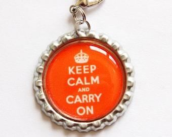 Keep Calm Carry On, Keep Calm charm, zipper pull, purse charm, Orange, bottlecap charm, Keep Calm (1568)