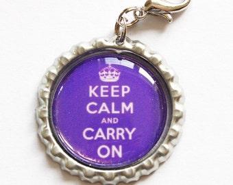 Keep Calm Carry On, Keep Calm charm, zipper pull, purse charm, Purple, Keep Calm, bottlecap charm (969-1)