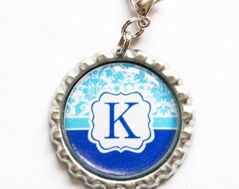 Personalized, Custom zipper pull, backpack zipper pull, zipper pull, purse charm, backpack charm,Bridesmaid Gift, Blue (1030)