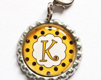 Personalized, Custom zipper pull, backpack zipper pull, zipper pull, purse charm, backpack charm,Bridesmaid Gift, Yellow, Black