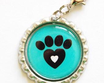 Dog zipper pull, zipper pull, purse charm, bag charm, bottle cap, Dog Lover, Dogs, Teal (1060)