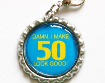 50th birthday, fifty, 50 zipper pull, purse charm, zipper pull, 50 birthday, blue (1083)