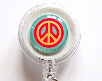 ID Badge Holder, Retractable id, Badge clip, Name Tag, Peace, Peace Sign, id badge clip