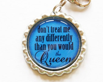 Funny zipper pull, backpack zipper pull, zipper pull, purse charm, bag charm, bottle cap, backpack charm, Humor, queen, blue