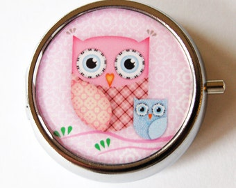 Owl Pill Box, Pill Case, Pill Container, Pink, case, Gift for her, pink, owl, Mint case, Candy container (1294)
