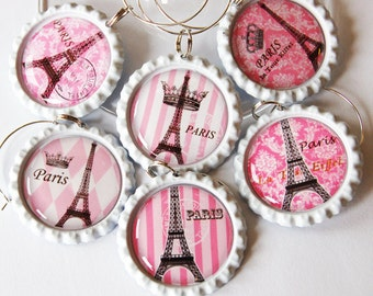 Paris wine charms, Wine Glass Charms, Wine Charms, Barware, Bottlecap wine charm, Wine, Paris, I Love Paris, eiffel tower, Pink (1307)