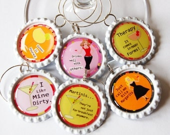 Funny Wine Charms, Wine Glass Charms, Wine Charms, Humor, barware, wine accessories ladies night (1310)