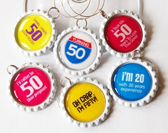 50th Birthday, 50th charms, Wine Glass Charms, Wine Charms, barware, Fifty, 50th, birthday, humor, birthday party (1321)