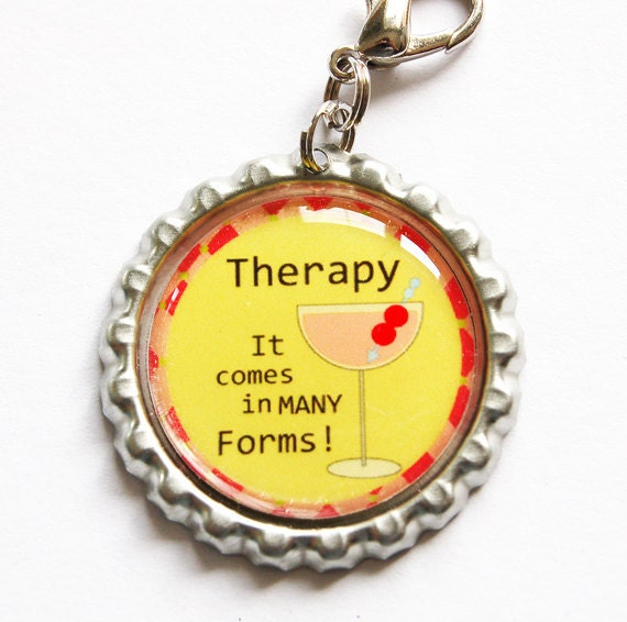 Funny zipper pull, Drink charm, zipper pull, purse charm, bottle cap, backpack charm, Drinks, humor, yellow
