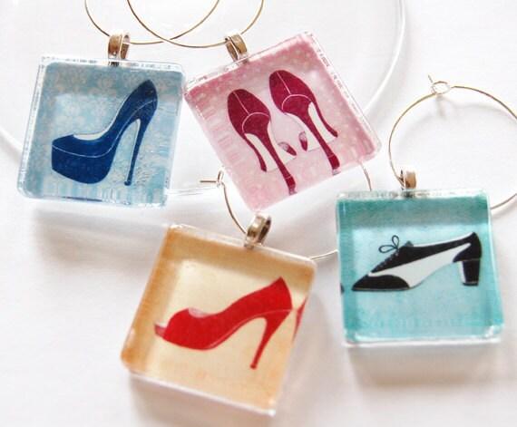 Girls night, barware, Wine Charms, Glass Wine Charms, shoes, high heels, pumps, fashion