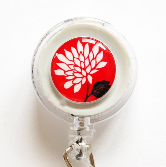ID Badge Holder, Flower, Retractable id, Badge clip, Rose, Red, White, name tag (1147)