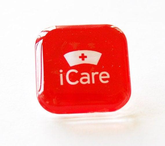 Nurse pin, nurse glass pin, lapel pin, Nurse, Red, gift for nurse, iCare, Stocking Stuffer
