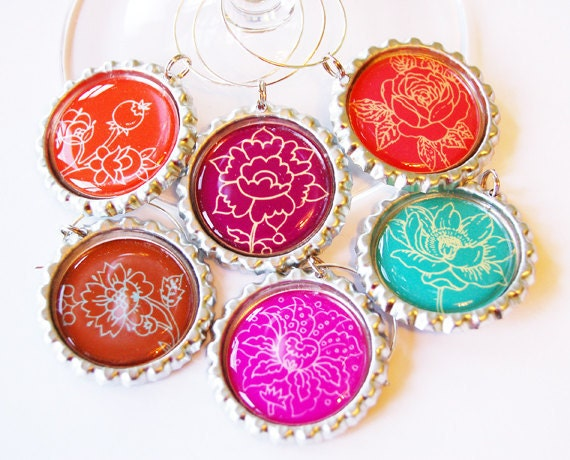 Wine Glass Charms, Wine Charms, Wine accessories, Flower wine charms, Barware, entertaining