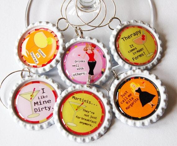 Funny Wine Charms, Wine Glass Charms, Wine Charms, Humor, barware, wine accessories ladies night (1310)