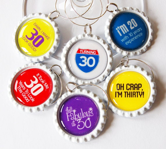 30th Birthday, 30th charms, Wine Glass Charms, Wine Charms, Bottlecap wine charm, Thirty, 30th, birthday, humor (1323)