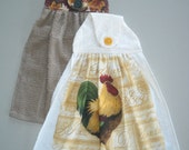 Hanging Kitchen Handtowel Autumn Leaves and Rooster