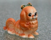 Vintage Pekingnese bone china dog figurine - petitie collectible, miniature china dog, Peke, puppy figurine