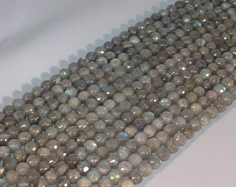 "Labradorite 8mm Round Faceted Gemstone Beads - 15.5"" Strand"