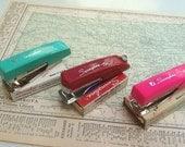 Vintage Miniature Staplers - Swingline Tot 50  - hot pink