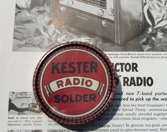 Small Tin Kester Radio Solder Red Black Advertising Tin Electronics Collectible Nice Graphics Chicago Newark Brantford