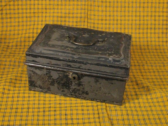 Scruffy Antique Metal Cash Box with a handle