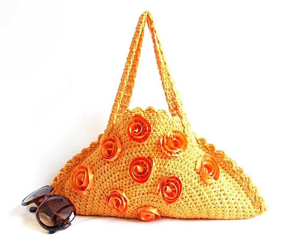 Tote bag Orange Mini bag Handmade Crochet Bag ON SALE by aynikki