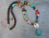 Artist, Southwest, Sterling Silver, Turquoise, Lapis, Coral and Multi Gemstone, Handcrafted, OOAK, Charm Necklace