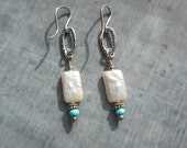 Freshwater White Pearls, Faceted Turquoise and Sterling Silver Artisan Earrings
