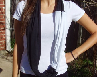 Infinity Black & White Jersey Knit Scarf : 3-in-1
