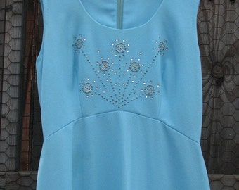 Sky blue handmade formal dress with beaded & sequined bodice