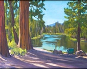 Oregon landscape reproduction on paper Deschutes River Campground 8x12 inches matted