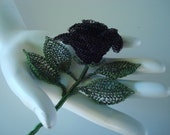 Crocheted Wire Black Rose 3D Sculptural Flower