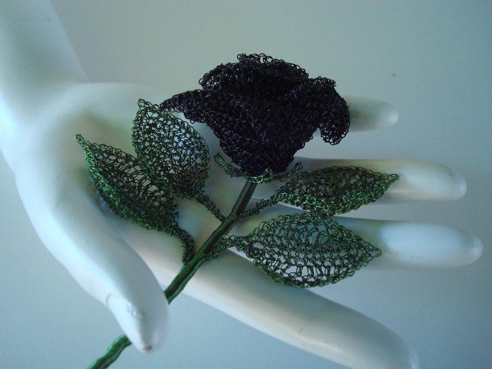 Crocheted Wire Black Rose 3D Sculptural Flower