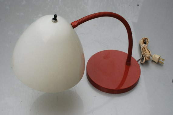 Vintage desk lamp orange and white with flexible stem, modern home decor, office lighting.